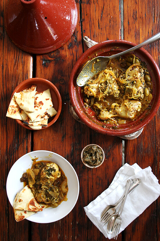chicken tagine with preserved lemons and green olives