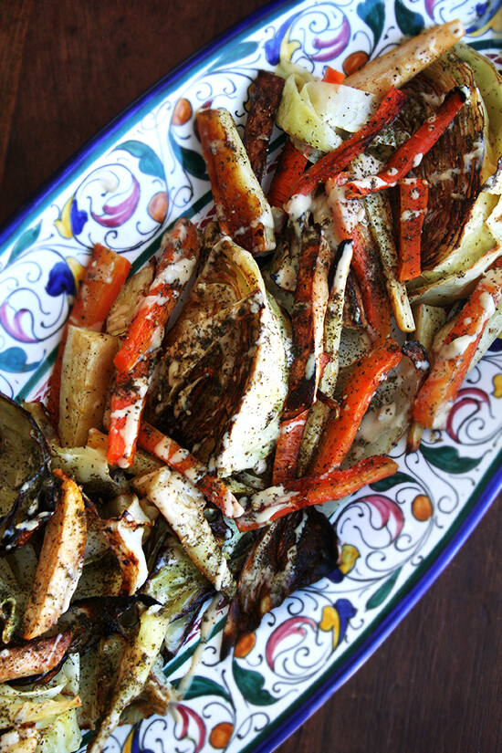 Roasted Vegetables with Tahini Sauce and Za'atar