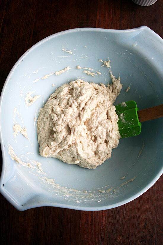 just-mixed dough