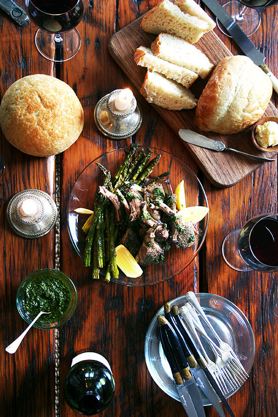 Bright green and fresh, these broiled lamb chops with mint sauce bear no resemblance to mint jelly and taste more like a salsa verde or a nut- and cheese-free pesto. It complements the lamb so well, but it's the kind of sauce you'll end up drizzling all over your plate, dragging your spears of roasted asparagus through, and mopping up with your bread throughout your meal. // alexandracooks.com