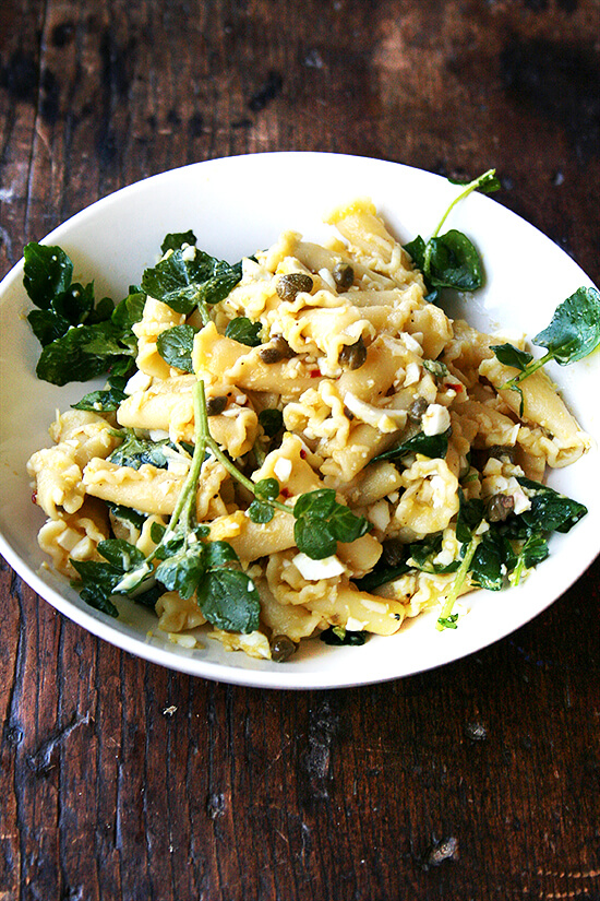 Campanelle with Hard-Boiled Eggs, Capers & Watercress