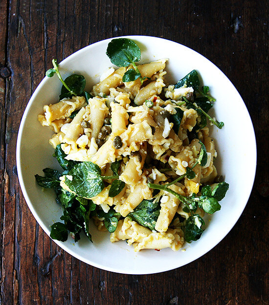 campanelle with hard-boiled egg, capers & watercress