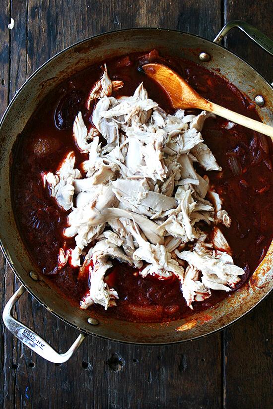 adding the chicken