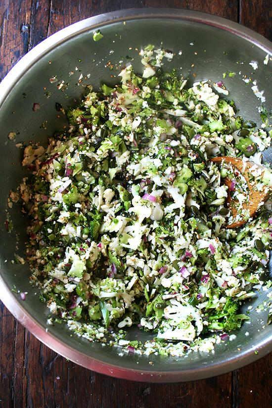 tossed broccoli & cauliflower salad
