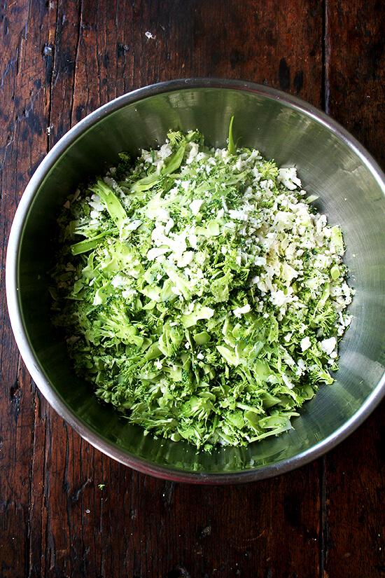 shredded cauliflower and broccoli