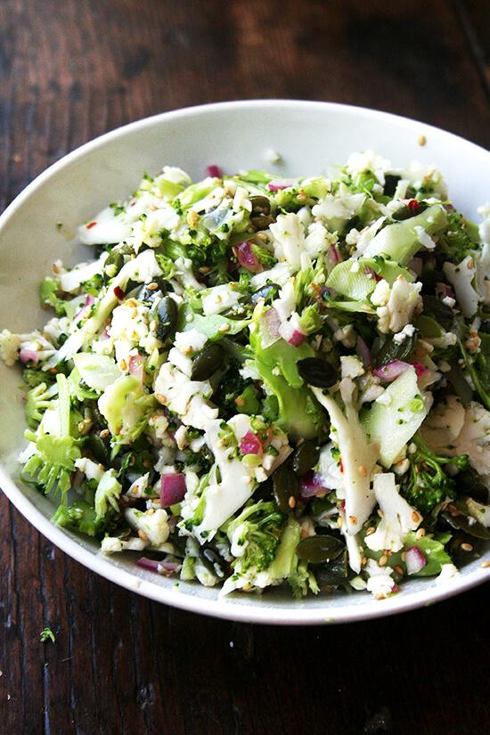 tossed broccoli, cauliflower & sesame salad