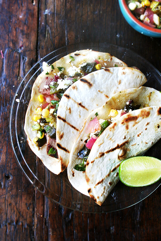 tacos with grilled corn and poblano salsa