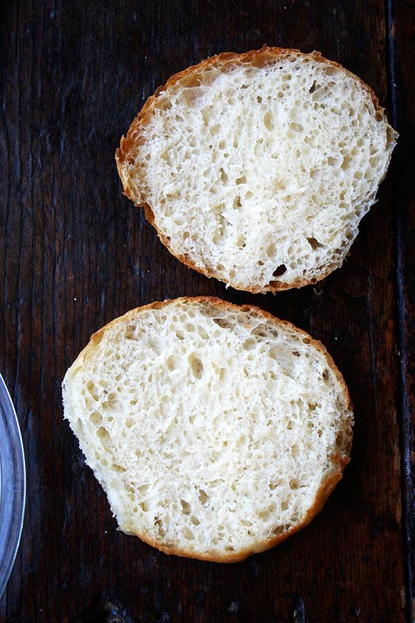 halved potato bun