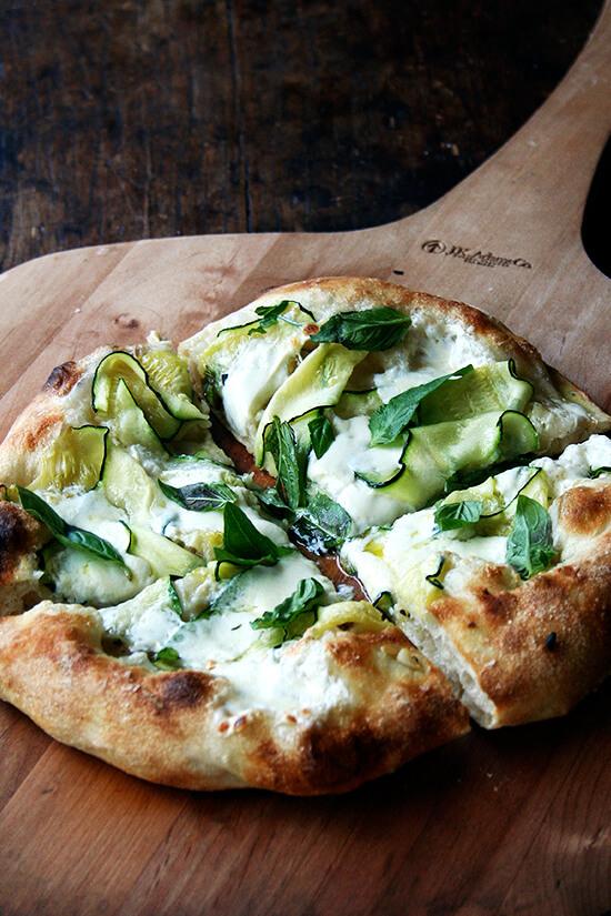 zucchini, anchovy, burrata pizza