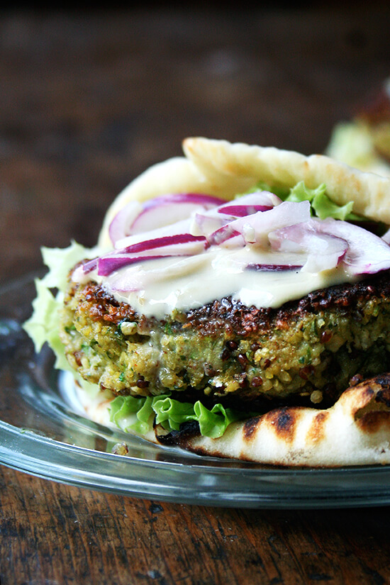 All summer, I've been trying to make a good veggie burger, and I've finally found a formula I love. Here, fresh, simple ingredients offer bite, smoke, and freshness. A cup of cooked quinoa, too, provides a nice crunch throughout, the grains crisping up during the quick sear on the stovetop. These happen to be vegan to boot. // alexandracooks.com