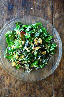 Swiss Chard Salad with Lemon, Parmesan & Breadcrumbs