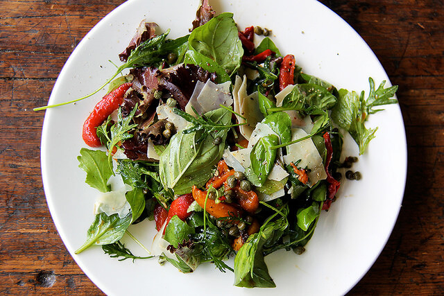 roasted red pepper salad with capers and basil
