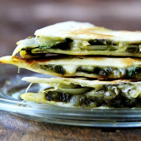 Roasted Poblano, Onion, and Jack Quesadilla & A Favorite Drink
