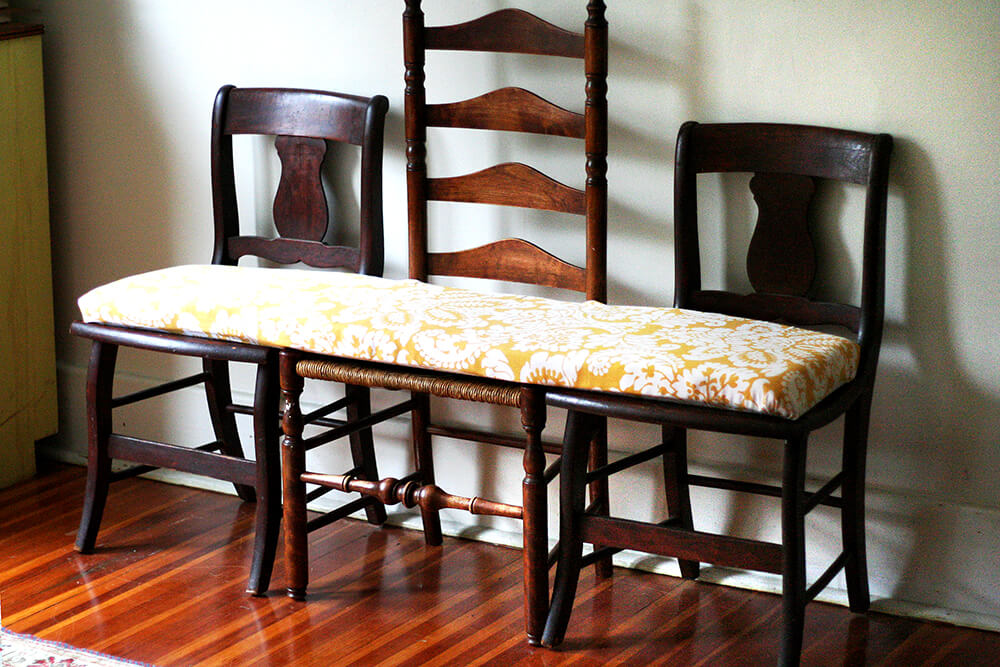 Design Sponge bench from 3 chairs