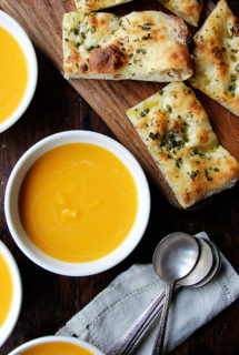 Butternut Squash and Cider Soup  served with  Rosemary and Sage Flatbread