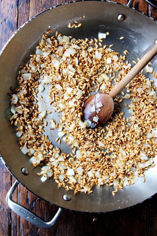 onion, farro, garlic sauté