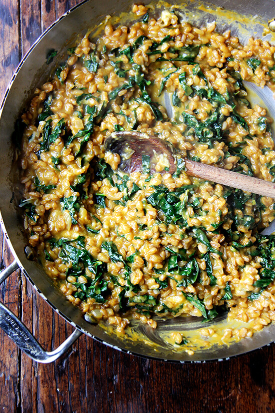 farro risotto with squash and kale
