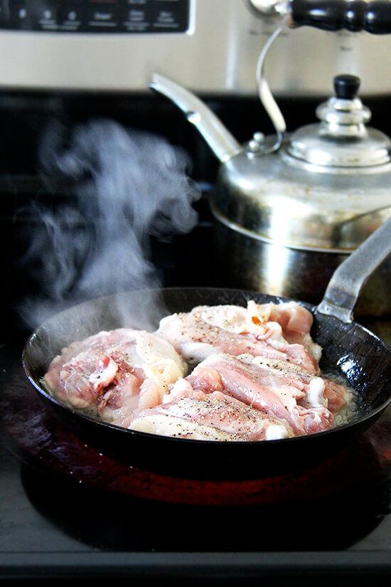 chicken on stove