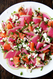 Watermelon Radish, Orange & Goat Cheese Salad
