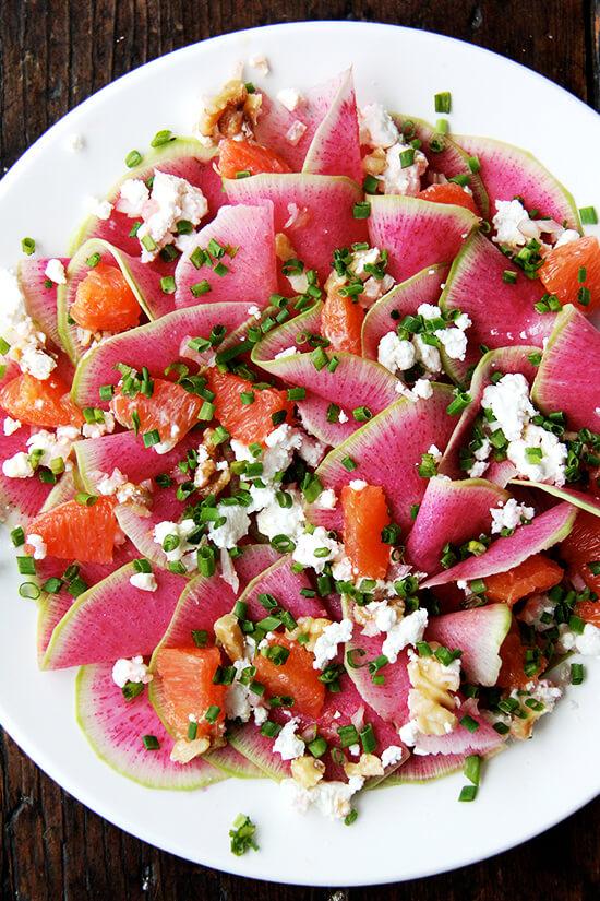 Watermelon Radish, Goat Cheese and Orange Salad