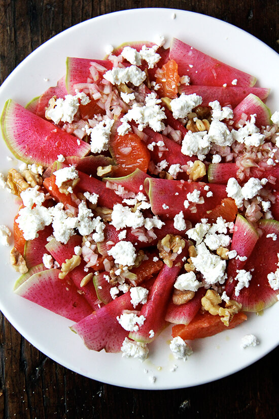 with goat cheese and walnuts