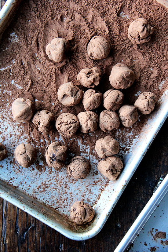 rolling the truffles