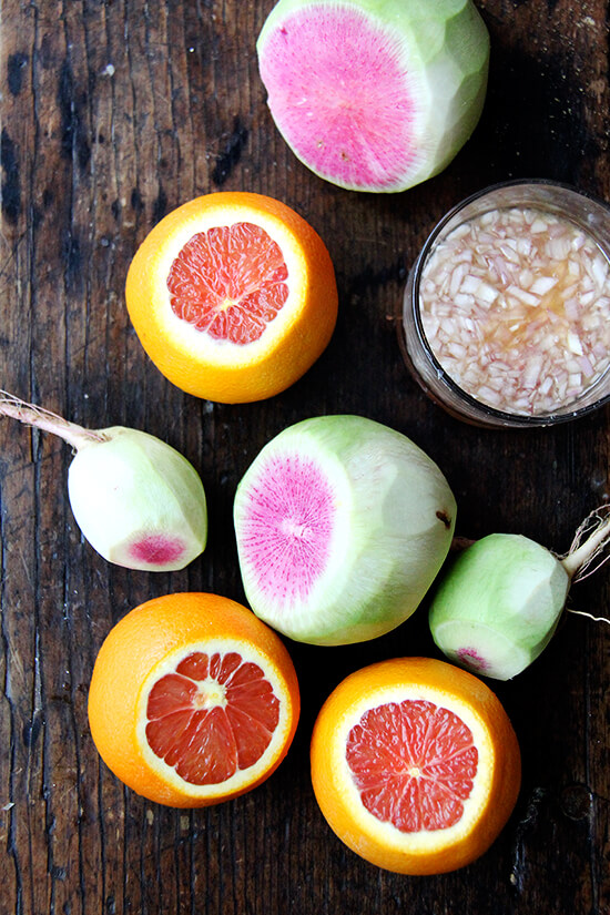 radishes and cara cara oranges