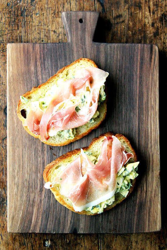 Pickled Egg Salad Toasts