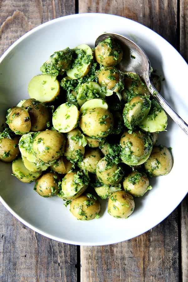 potatoes with green harissa