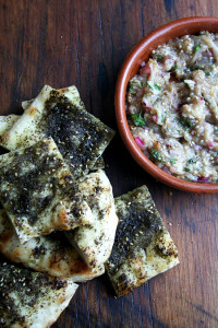 burnt eggplant caviar with za'atar flatbread