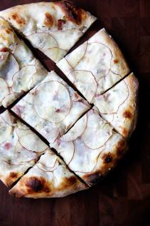 Pizza with Potato, Bacon and Crème Fraîche