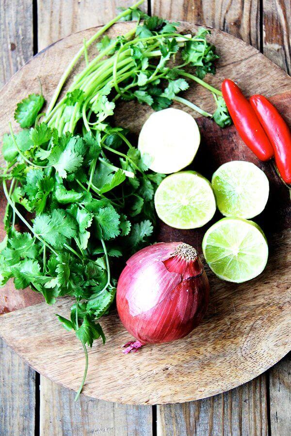 limes, cilantro, onion, chilies