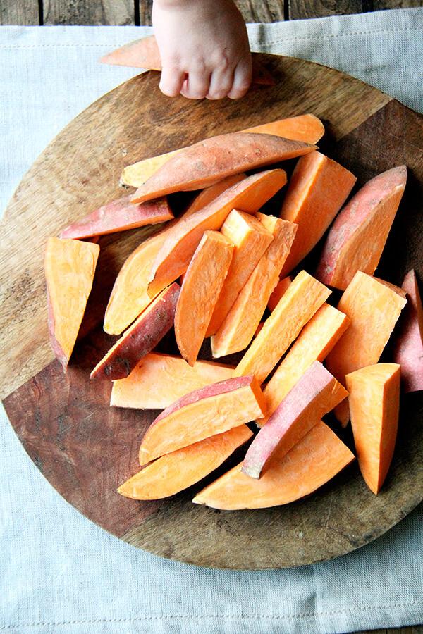sweet potatoes, cut