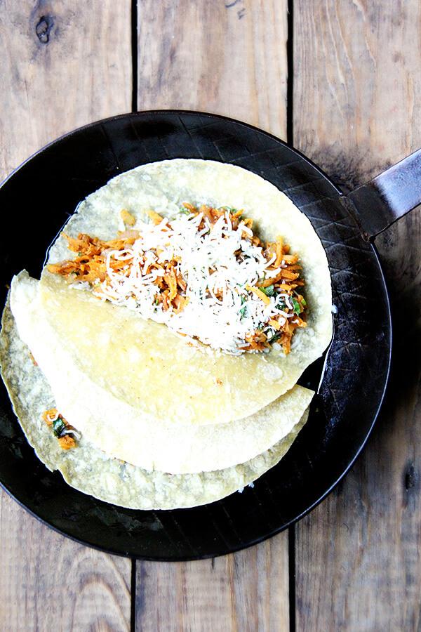 tacos in pan
