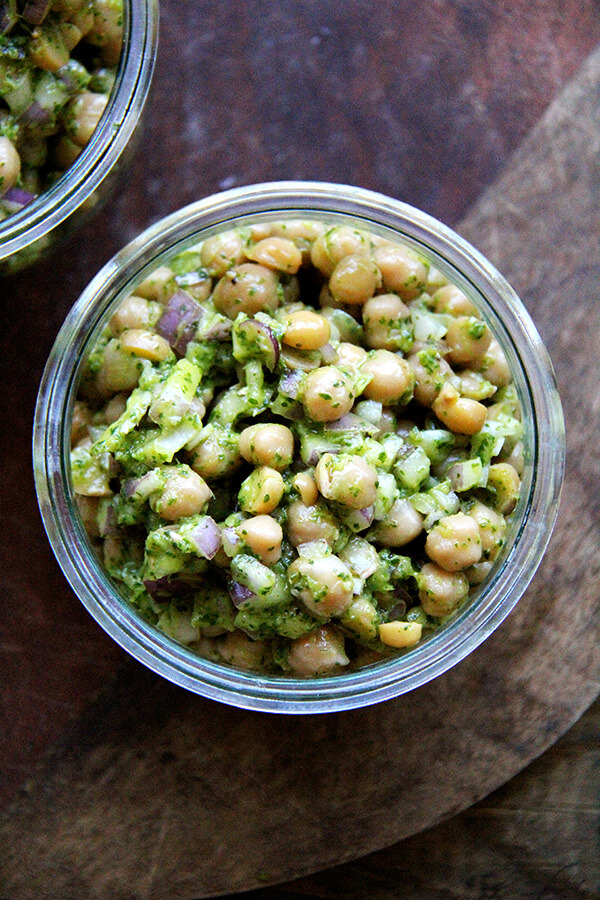 In this in-between season of foods, when the comforts of winter have lost some of their appeal yet spring fare still feels months away, this simple salad of chickpeas with cilantro-lime dressing couldn't have tasted more refreshing. // alexandracooks.com