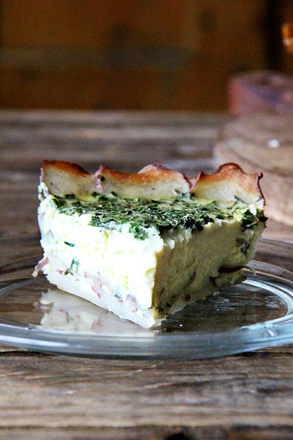 Tartine's potato-crusted quiche with herbs