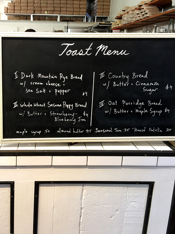 Toast menu at The Mill, San Francisco