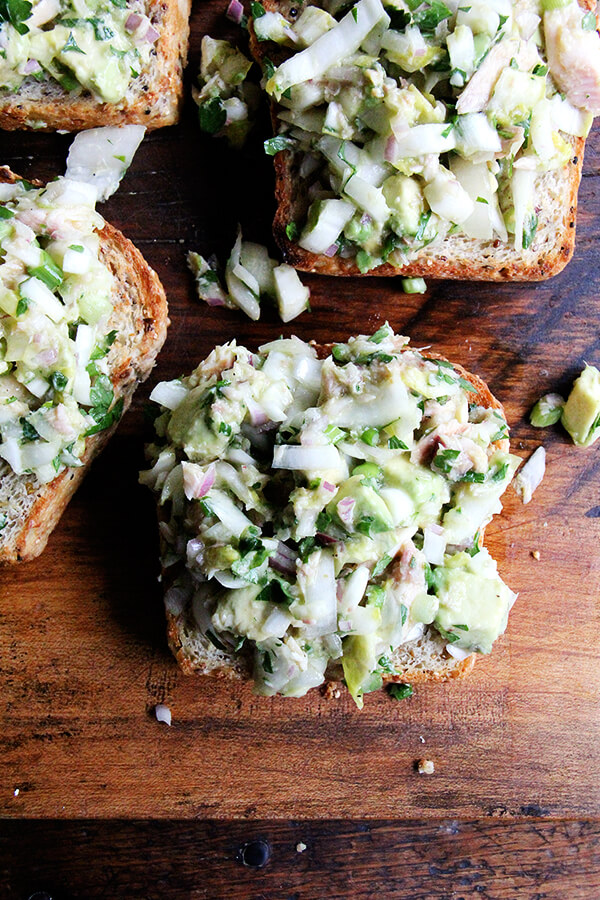 avocado and smoked trout toasts
