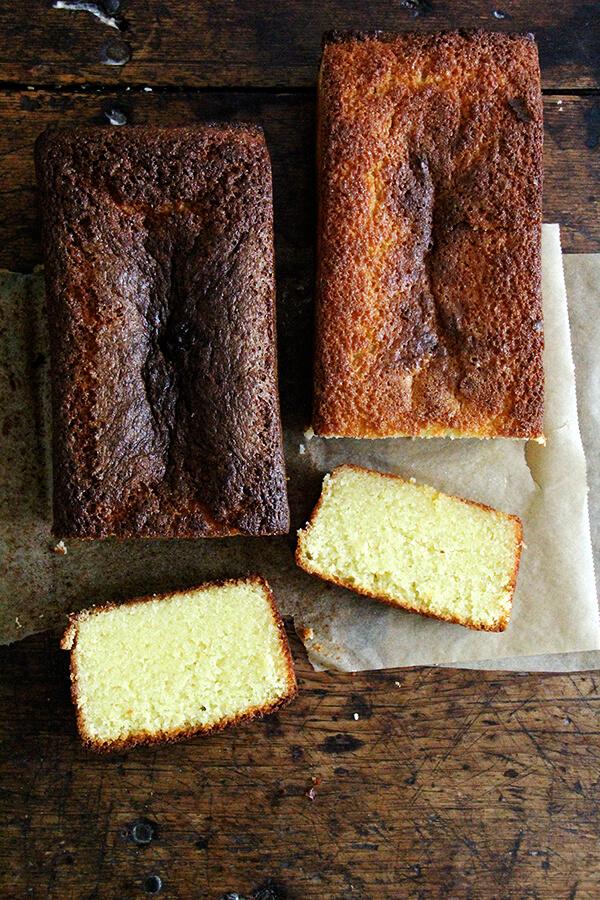 lemon-semolina cakes, sliced