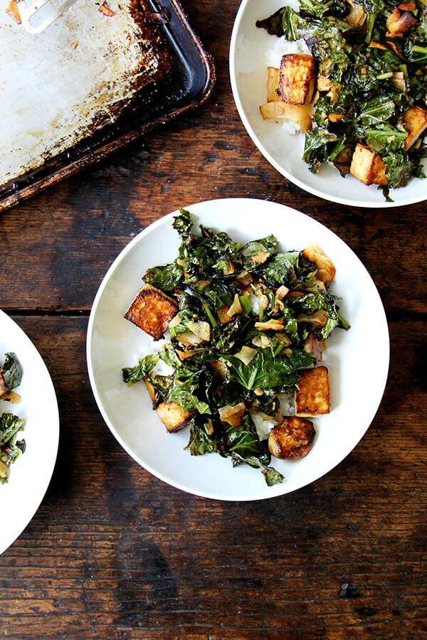 baked tofu with crispy kale and coconut