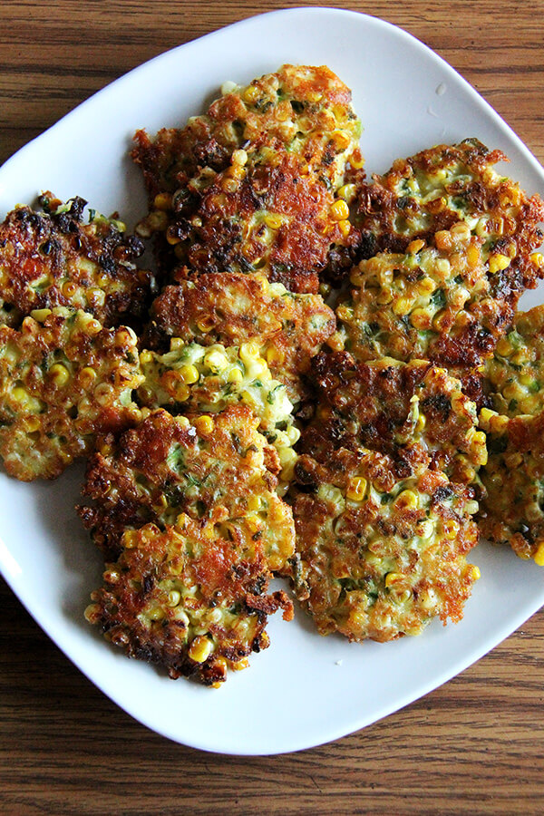 These cheddar, scallion, and corn fritters are irresistible and perfect food for summer vacation, especially over the fourth of July! // alexandracooks.com
