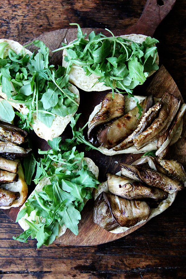 balsamic-roasted eggplant and arugula sandwich