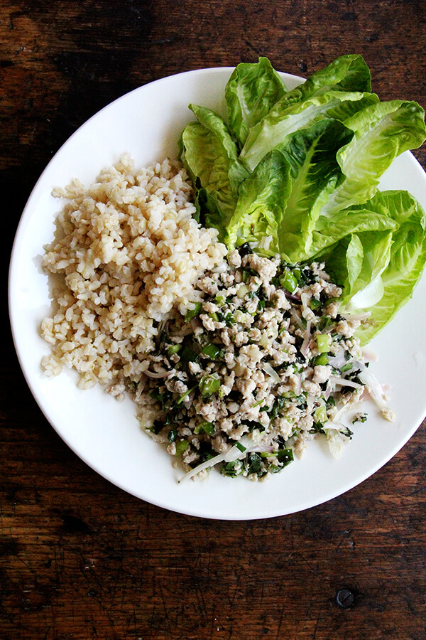 Larb, the Thai chicken salad loaded with fresh herbs, shallots, and chilies, is so good. At once refreshing, spicy, and satisfying. A perfect meal for hot summer nights. // alexandracooks.com