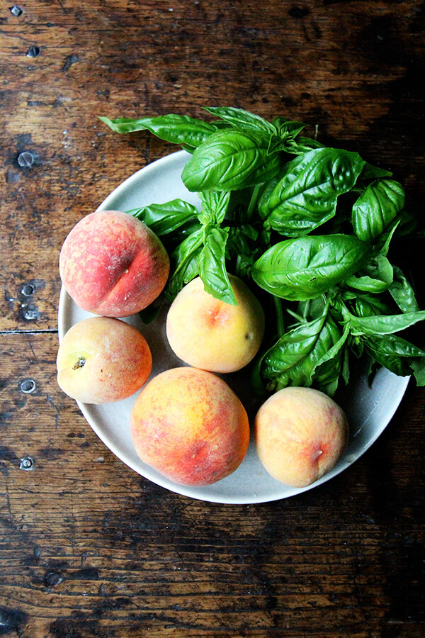 peaches and basil