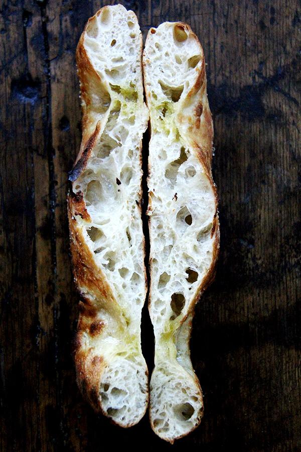 Halved Lahey Bread, beauty of the Baking Steel