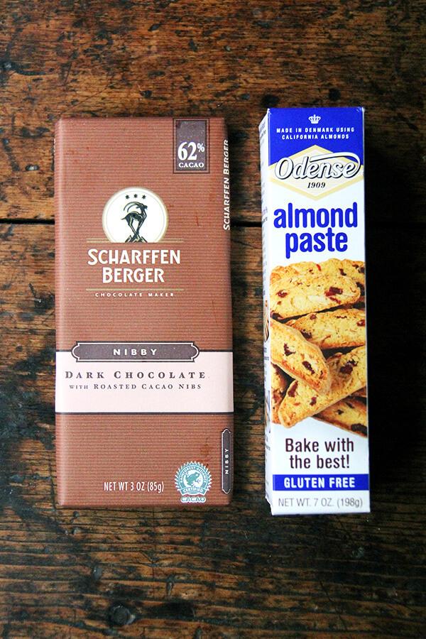 chocolate, almond paste