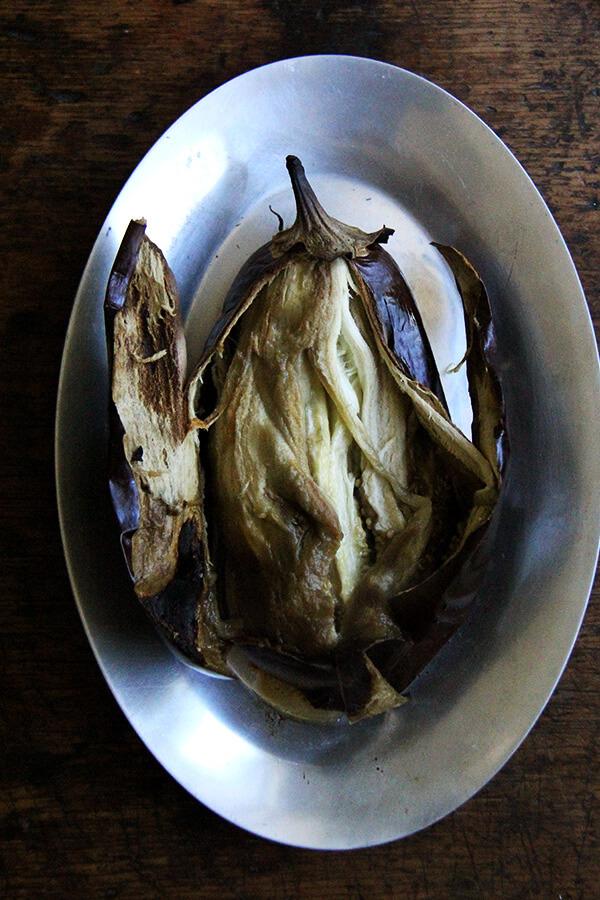 split open eggplant