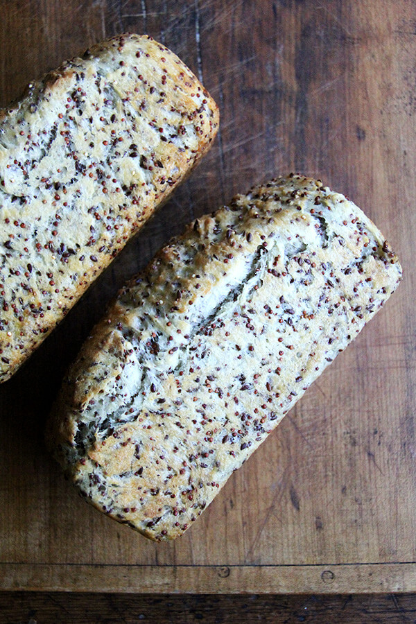 quinoa and flax bread, cooling