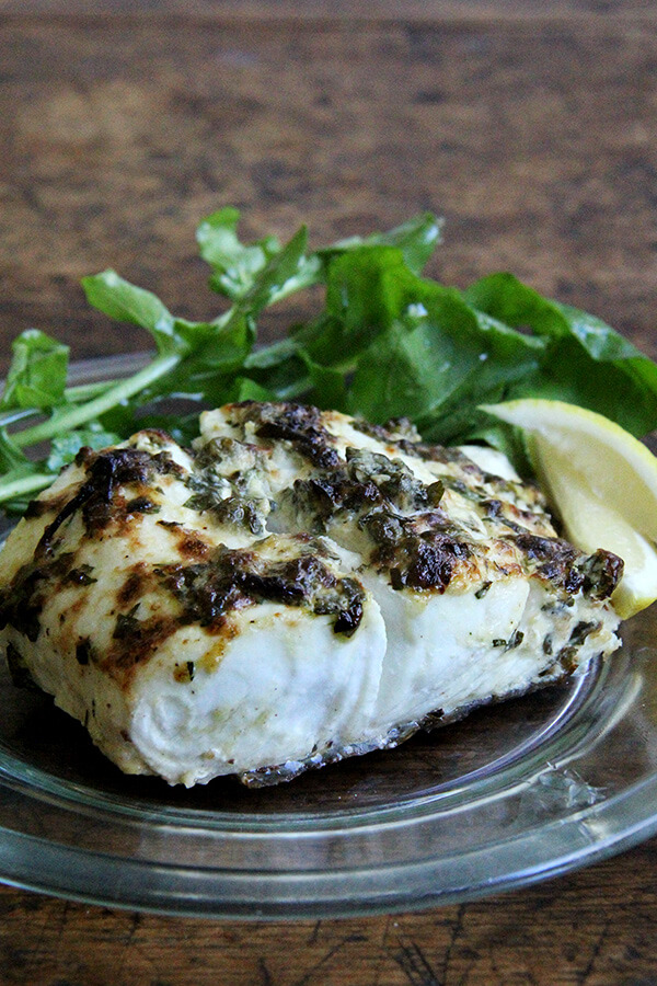 Pan-Broiled Halibut with Lemon, Capers, & Parsley ...