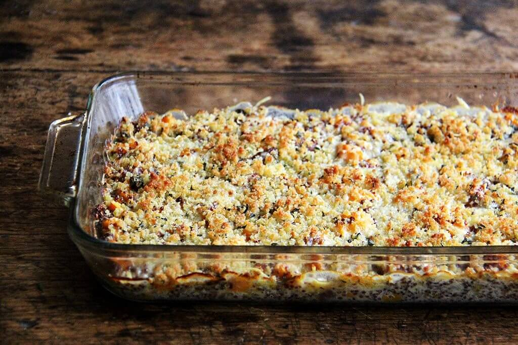 baked quinoa with roasted butternut squash and onions